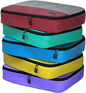Dot&Dot Large Packing Cubes for Travel - 5-piece Ultra Lightweight Luggage Accessories Organizers Set (Red/Yellow/Green/Bl...