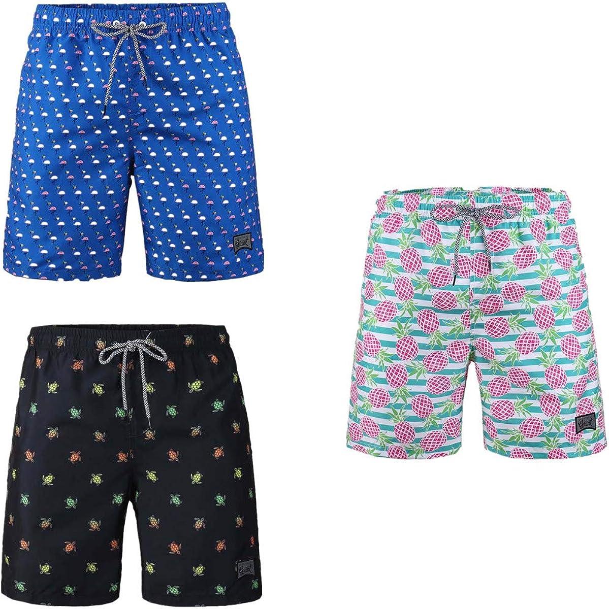 Beautiful Giant 3 Pack Men's Board Shorts Drawstring Casual Beach Swimming Lightweight Quick Dry Swimwear