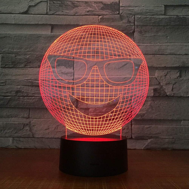 Laofan Lchelndes Gesicht Modell Led 3D Nachtlicht 7-Farbe Change Touch RGB 3D Tischlampe Geschenk,Fernbedienung