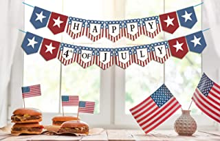 Dazonge Forth of July Patriotic Decorations - Stars and Stripes Happy 4th of July Banner - Memorial Day/Independence Day D...