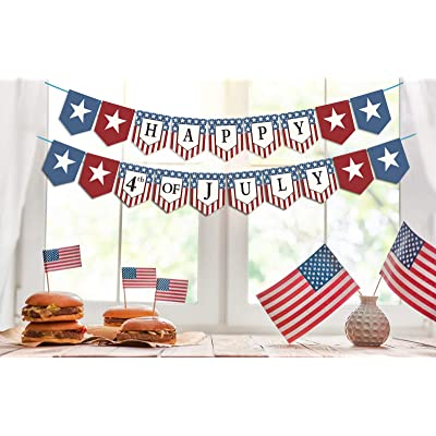 Dazonge Happy 4th of July Banner - Stars and St...