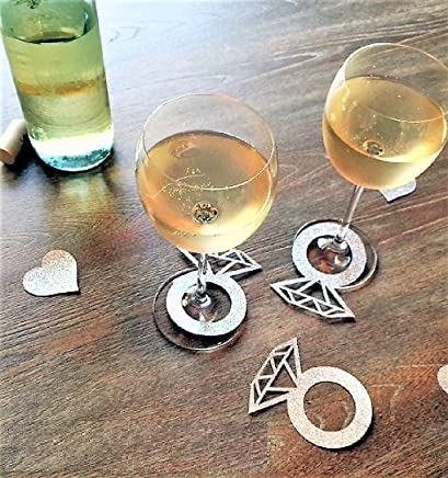 Various Designs of Wine Glass Ring Markers Cards-20 Pieces Lips/Ring for Birthday/Bridal Shoers/Wedding/New Years Events/Party (Silver Diamond Ring)
