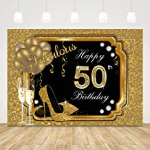 Happy 50th Birthday Backdrop for Women Black and Gold Birthday Photo Background 7x5ft Glitter Balloons High Heels Birthday Backdrop 50th Birthday Back Drops for Photo Shoot Fifty Birthday Party Favors