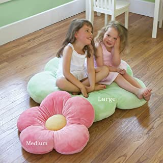 Heart To Heart Girls Flower Floor Pillow Seating Cushion, for a Reading Nook, Bed Room, or Watching TV. Softer and More Plush Than Area Rug or Foam Mat. 35