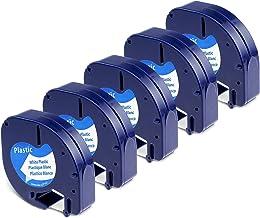 5x Cinta Etiquetas Compatible Dymo LetraTag Maquina para Etiquetas LT-100H 2000 LT-100T XR, Dymo Cinta de Plástico 91201 S0721610 12mm x 4m Negro sobre Blanco (Dymo Letratag Plastic Label Tape)