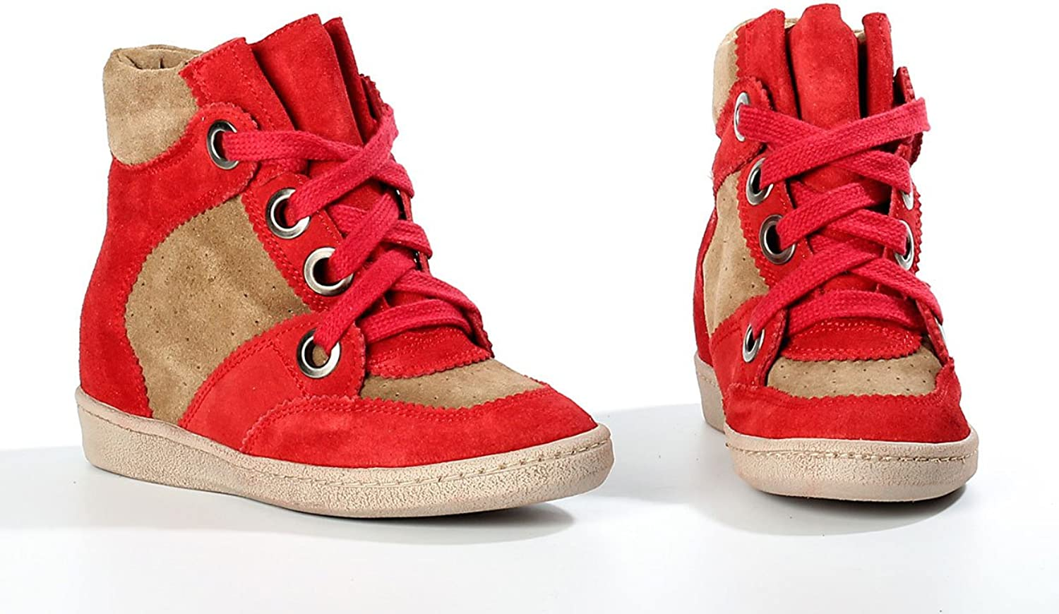 MTNG Originals Amberes Wedge Suede Red Tan Size 6 Boot shoes 50679 New