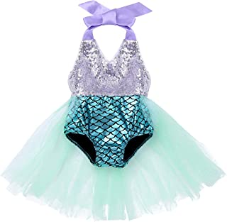 ede308d778 dPois Infant Baby Girls  Glittery Sequined Mermaid Swimsuit Swimwear Halter  Neck Scales Printed Bathing Suit