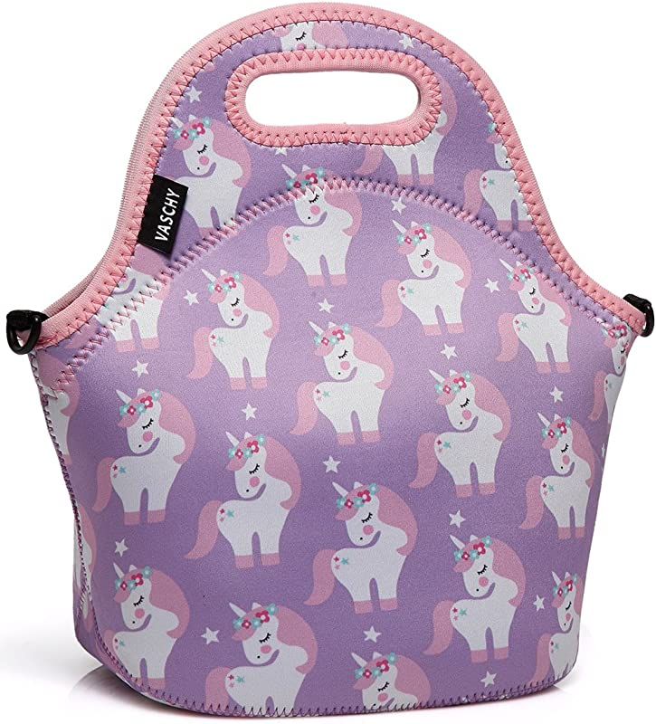 VASCHY Lunch Box Bag For Girls Neoprene Insulated Lunch Tote With Detachable Adjustable Shoulder Strap In Pink Unicorn