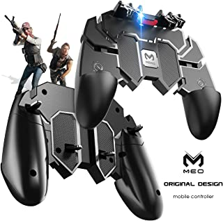 MEO Mobile Game Controller Compatible with PUBG [Six-Finger] - Game Controller with Gaming Trigger, Shoot Sensitive Controller Gamepad Aim & Fire Trigger