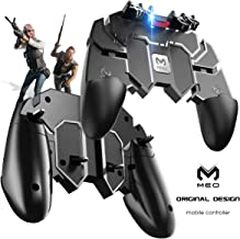 MEO Mobile Game Controller [Six-Finger] - Game Controller with Gaming Trigger, Shoot Sensitive Controller Aim & Fire Trigger Compatible with iPhone/Android (Black)