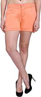 KVL Cotton Casual Shorts for Women-Coral
