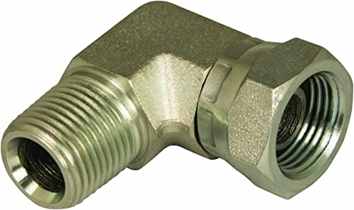 "Apache 39005075 3/8"" Male Pipe x 3/8"" Female Pipe Swivel 90° Hydraulic Adapter (Style 1501)"