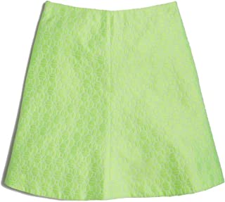 J Crew Factory - Women's - Neon Yellow-Green Geometric Jacquard A-Line Mini Skirt