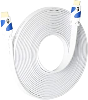 Flat HDMI Cable Postta 40 Feet Flat HDMI 2.0 Cord Support 4K, Ultra HD, 3D, 2160p, 1080p, Ethernet and Audio Return-White-Blue