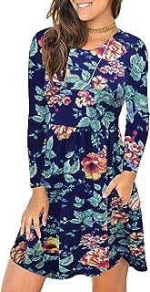 HODEYS Women's Long Sleeve Pocket Loose Casual T-Shirt Dress