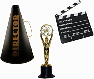 Windy City Novelties Hollywood Directors Party Kit Includes Directors Megaphone + Clapboard + Award Trophy