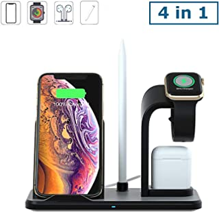 Wireless Charger Stand, 10W Qi Fast Wireless Charging Stand Compatible with iPh XR/XS Max/X / 8/8 Plus, Samsung Galaxy S9/S9+/S8+/S7, 4 in 1 Charging Dock Holder for Watch Series and Airpods- Black