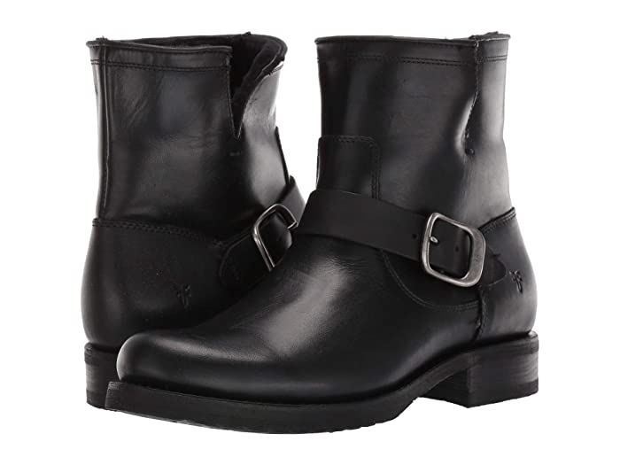 Vintage Boots- Winter Rain and Snow Boots History Frye Veronica Shearling Bootie Black Womens Boots $398.00 AT vintagedancer.com