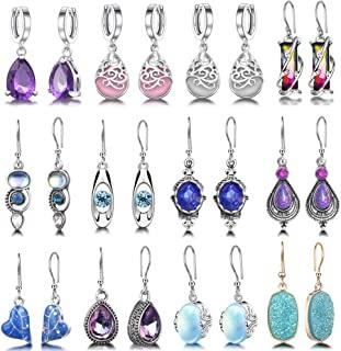 12 Pairs Teardrop Crystal Drop Dangle Earrings for Women...