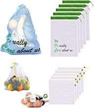 Premium Eco Mesh Grocery Produce Bags Reusable, Set of 10 in 2 sizes