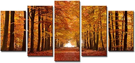 Wieco Art - Autumn Forest Modern 5 Panels Stretched and Framed Giclee Canvas Prints Landscape Artwork Pictures Paintings o...