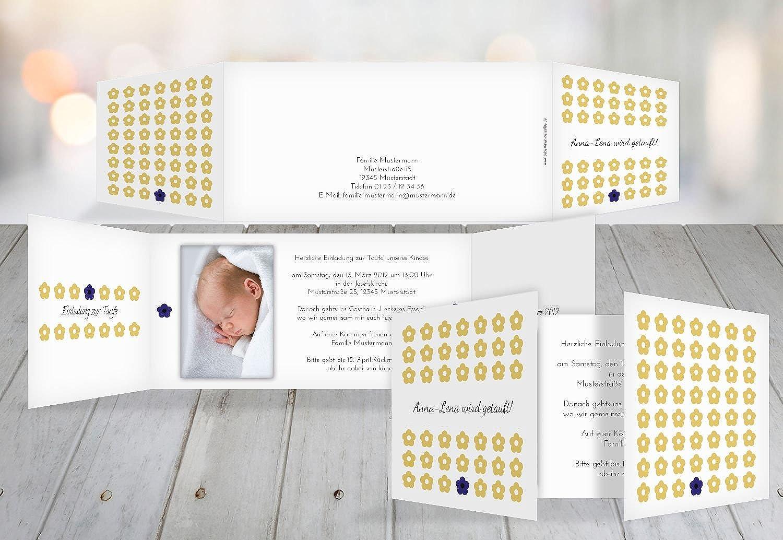 Kartenparadies Kartenparadies Kartenparadies Einladungskarte Taufeinladung Taufkarte Blaumentapete, hochwertige Einladung zur Taufe inklusive Umschläge   10 Karten - (Format  215x105 mm) Farbe  OckerGelb B01N9XIC5L | Spielzeug mit kindlichen Herzen herstellen  | Roman  | Versch a35259