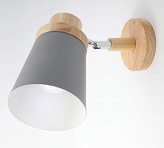 HOME PRO WALL LAMP SHADE WOOD BASE LED LIGHT GREY LAMPSHADE