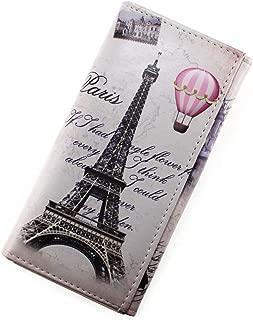 Unisex Vintage Style PU Leather Paris Effiel Tower Cartoon Trifold Wallet Cash Coin Long Purse Card Holder for Women & Girls