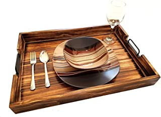 Rustic Torched Wood - Dark Fire - Ottoman Serving Tray - Black Metal Handles - 20 Inch - Jae Opal Holdings