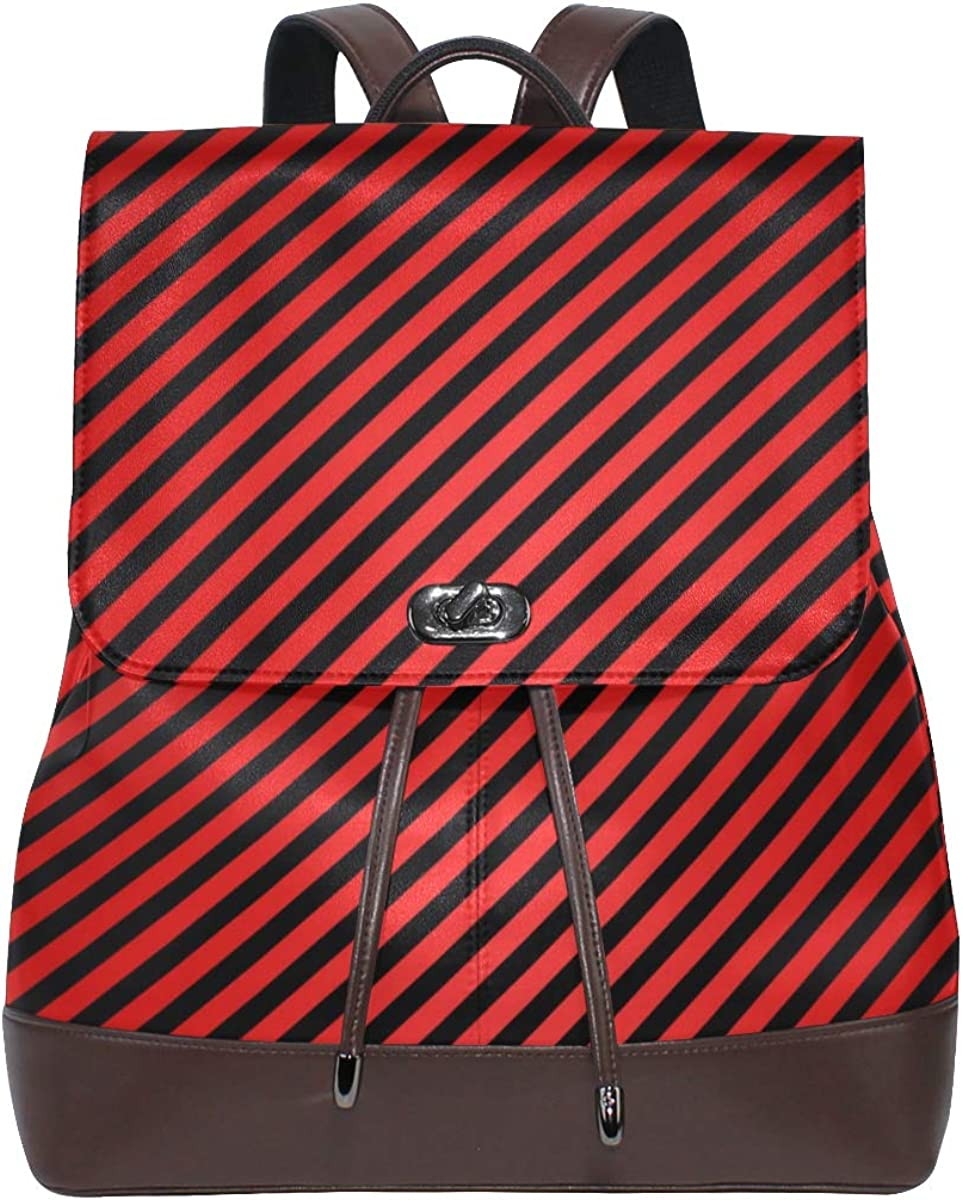 Women PU Leather shop Structure Pattern Sch New item Red Backpack Purse Travel