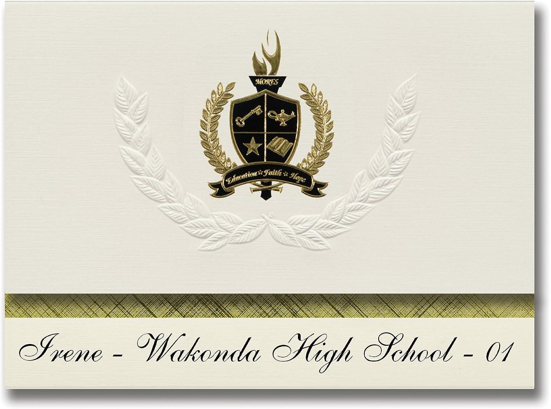Signature Ankündigungen Irene – WAKONDA High School – 01 (Irene, SD) Graduation Ankündigungen, Presidential Stil, Elite Paket 25 Stück mit Gold & Schwarz Metallic Folie Dichtung B078WF44N4    | Export