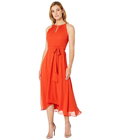 Tahari by ASL Sleeveless Chiffon Keyhole Midi (Orange Spice) Women