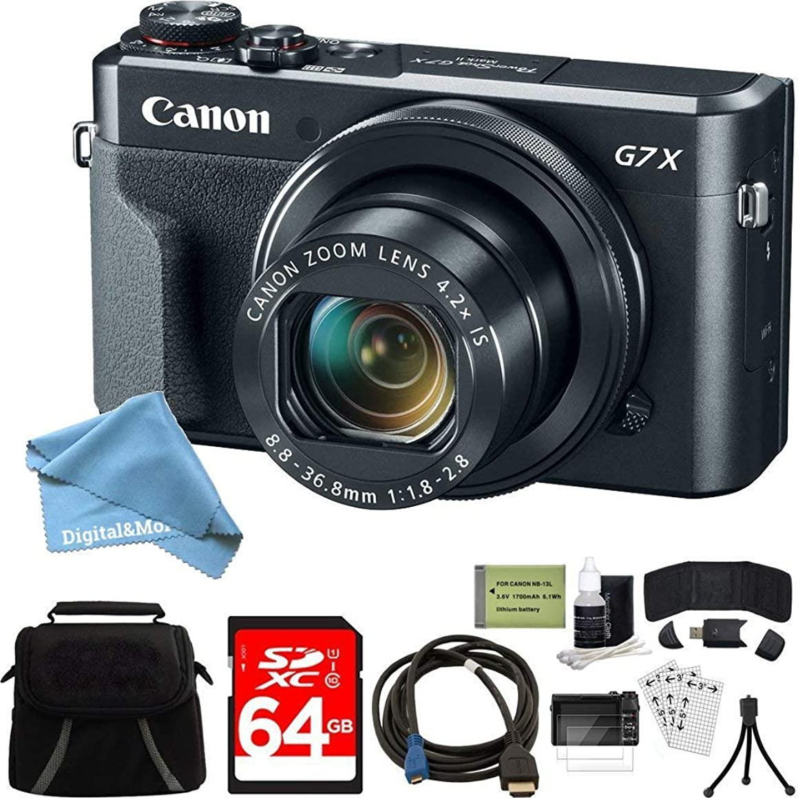 Canon PowerShot G7 X Mark II Zoom Digital Camera w/ 64GB Accessory Bundle Includes Camera, Bag, 64GB SDXC Memory Card, HDMI Cable, Card Wallet + Reader, DigitalAndMore Cleaning Kit