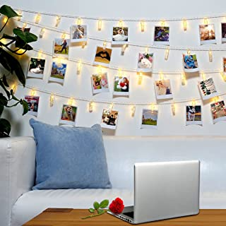 Jokmae 40 LED Photo Clips String Lights – 8 Modes Wall Hanging Clothespin Picture Display Peg Card Holder, Birthday Mother...
