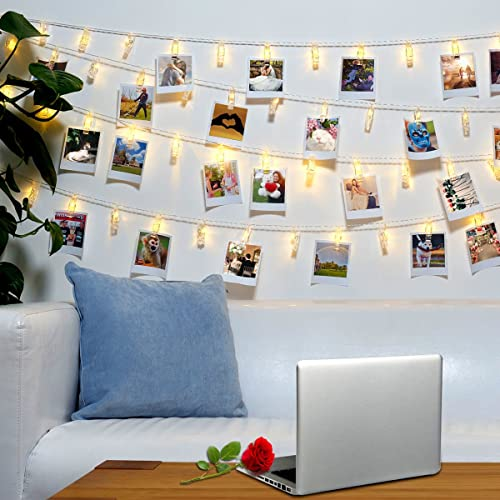 40 LED Photo Clips String Lights   8 Modes Wall Hanging Clothespin Picture  Display Peg Card