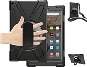 Fire HD 10 Case 2017 with Stand,TSQ 3 Layers Heavy Duty Shockproof Rugged Protective Case with Handle Hand Strap/Shoulder Strap/Kickstand for Amazon Fire HD 10.1 Inch Tablet 2018/2017 Release,Black