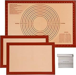 Lot de 4 tapis de cuisson en silicone antiadhésif demi-feuille + tapis de pâtisserie en silicone avec mesures + racleur à ...