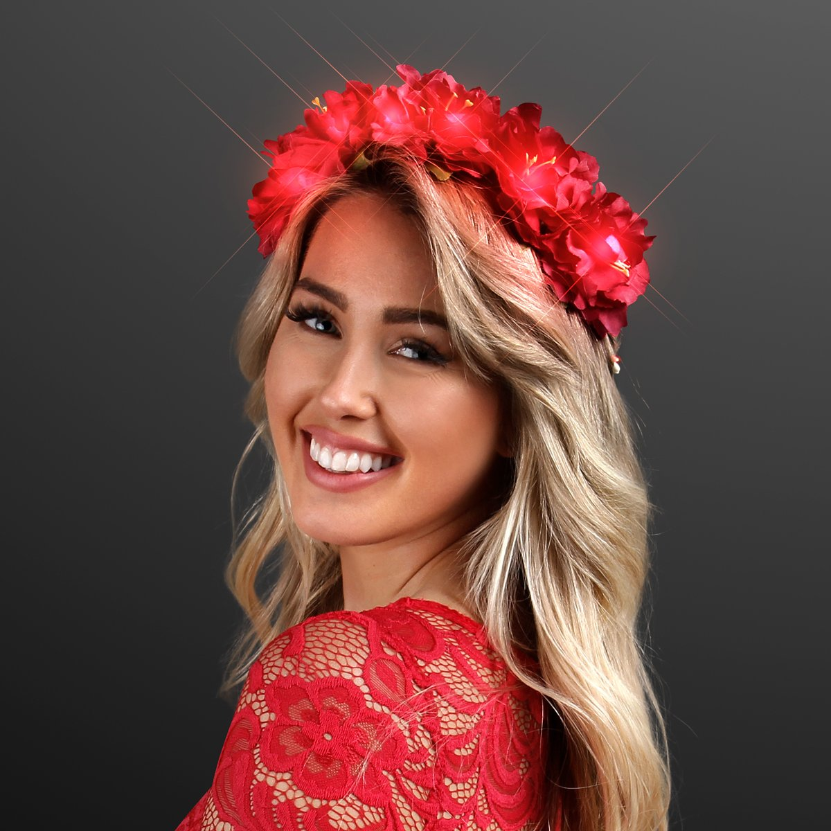 Light Up Red Flower Crown Headband Li with for LED 2021 spring and summer new Seattle Mall Festivals