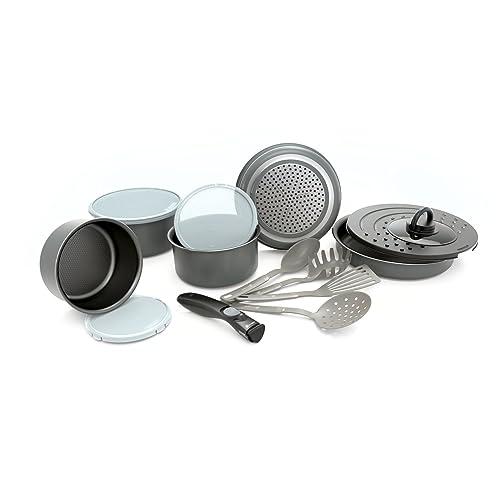 Set de poêles et casseroles avec poignée amovible - Set 14 Pièces Gris -Tous feux dont induction
