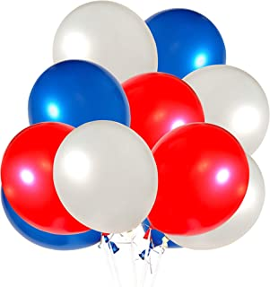 Perfect Settings 12 Inch Assorted Color Party Balloons - Red White Blue | Birthday | Anniversary | 4th of July | Patriotic Colors - 18 PCS (RedWhiteBlue)