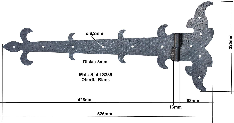 Hinge 18.4 x 16.5 cm #760 Made of Iron Antique Medieval UHRIG /® Shutter Hinge Fitting for Window Furniture Kitchen Chest Garden Yard Door Gate etc
