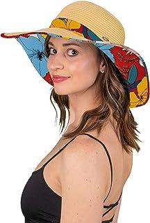 Funky Junque Womens Fabric Patterned Print Brim Adjustable Beach Floppy Sun Hat
