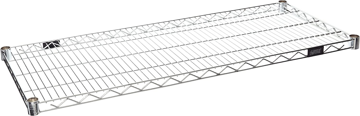 Quantum Storage Systems 1842C-4 Extra Shelf for 18  Deep Wire Shelves, Chrome Finish, 800 lb. Load Capacity, 1  Height x 42  Width x 18  Depth (Pack of 4)