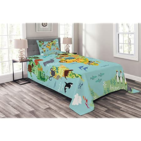 Dark Pink Farm with Cow Fox Chicken Pig Horse in The Fences Countryside Rural Children Design King Size Decorative Quilted 3 Piece Coverlet Set with 2 Pillow Shams Lunarable Cartoon Bedspread