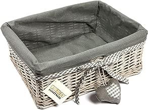 Woodluv Wicker Large Storage Gift Hamper Shelf Basket with Lining, Grey