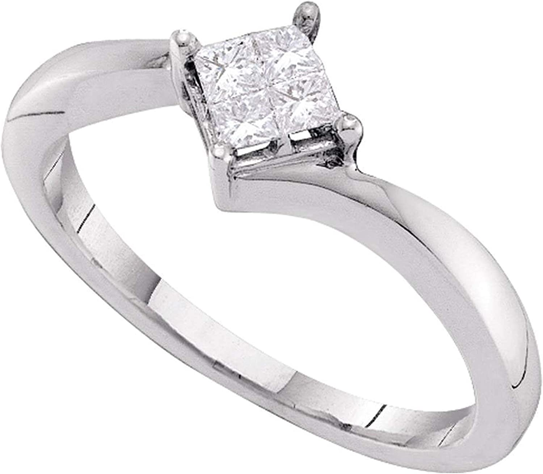Dazzlingrock Collection 0.25 Carat (ctw) Princess Diamond Cluster Promise Bridal Ring 1/4 CT, 14K White Gold