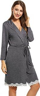 Avidlove Womens Robe Soft Short Kimono Bathrobe Sleepwear with Lace Decor
