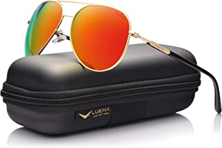 Men Aviator Sunglasses Polarized Women - UV 400 By LUENX,with case 60MM