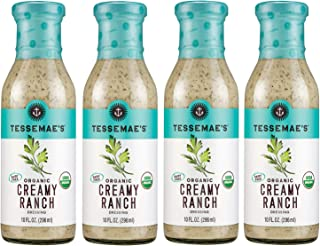 Tessemae's Organic Creamy Ranch Dressing 4 pack, Whole30 Certified, keto diet approved, USDA Organic, soy-free, dairy-free, gluten-free, sugar-free