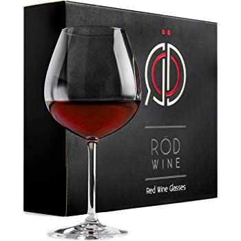 ROD Wine Juego de Copas de Vino Tinto - Vasos de Cristal en Titanio sin Plomo, con